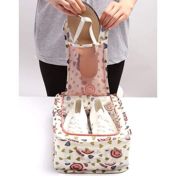 Gambar Produk Rinci Monopoly Flower Shoes Pouch Travel Ver 3 / Tas Sendal Sepatu Terkini