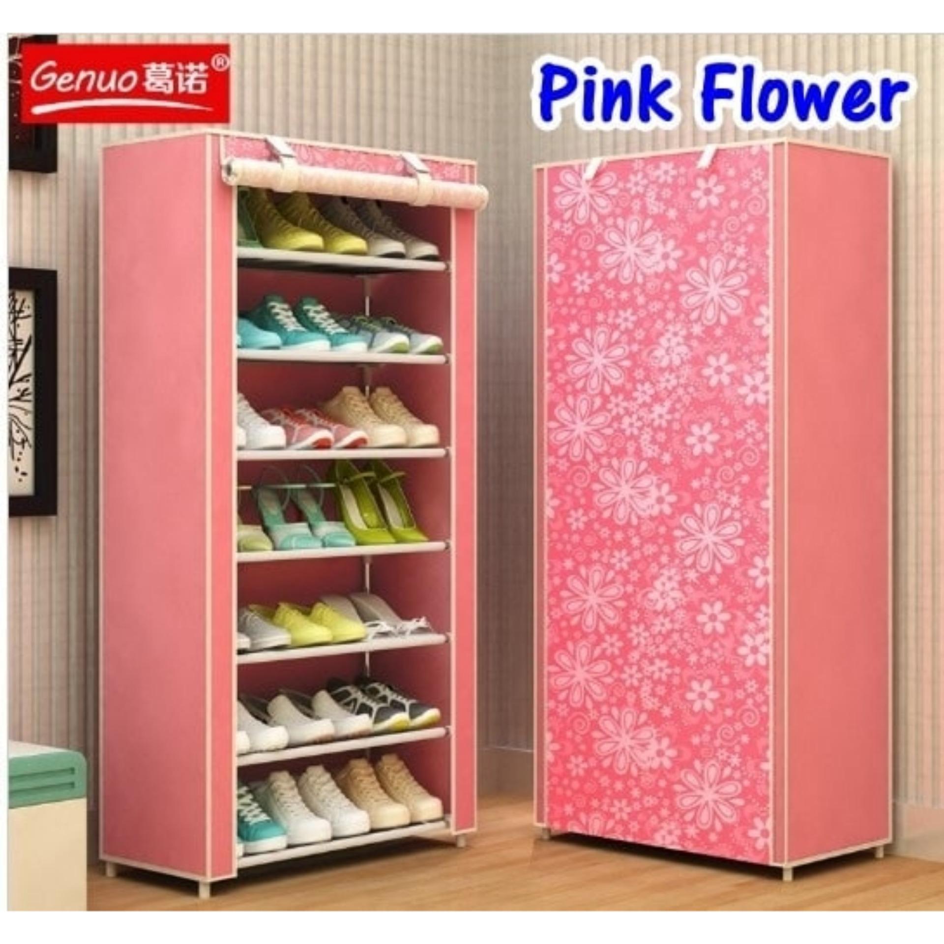 Rak sepatu keren rak plastik bertingkat lemari sandal sepatu rak sepatu bongkar  pasang rak sepatu sandal AK-8 Pink Flower 7 Tingkat