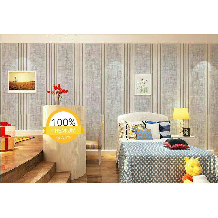 ... Grosir murah wallpaper sticker dinding kamar ruang indah putih gading garis emas rajut silver - 3 ...