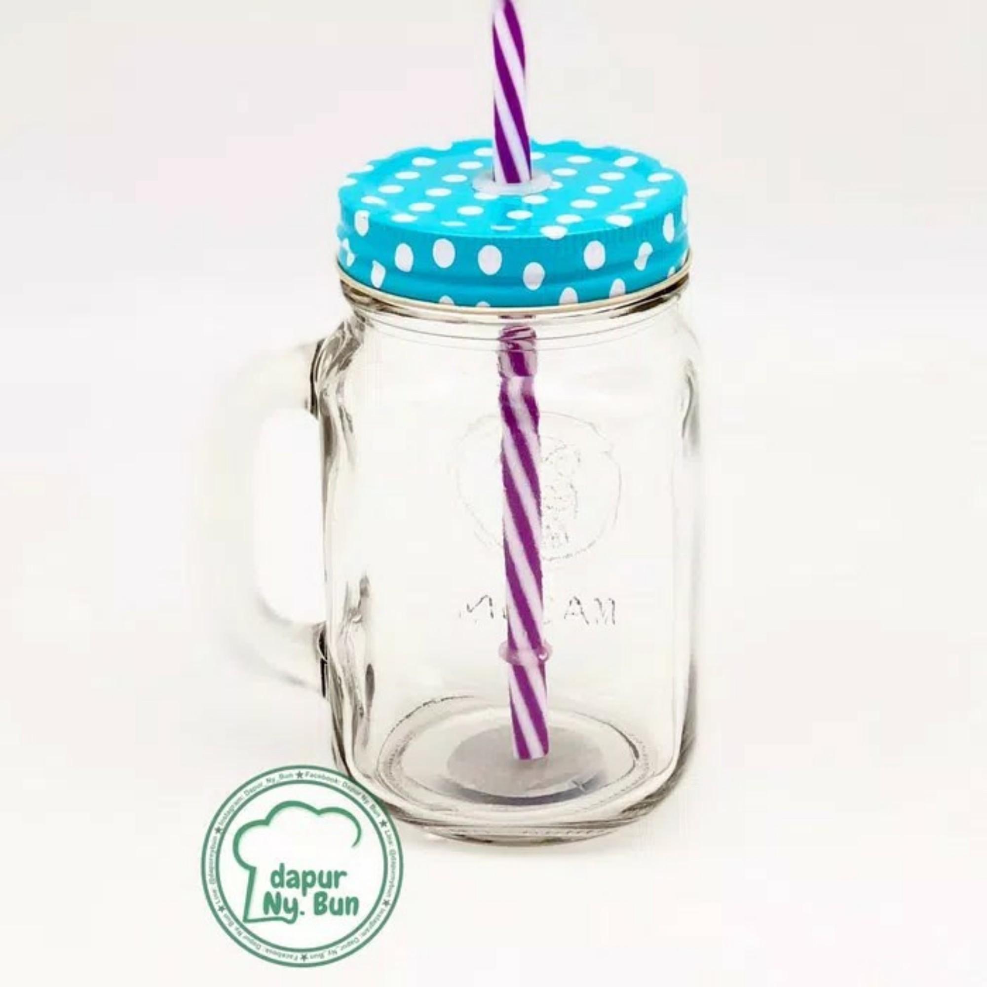 Mason Drinking Jar FREE Sedotan/Gelas Toples POLKADOT