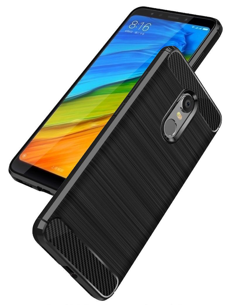Caselova Premium Quality Carbon Shockproof Hybrid Case for Xiaomi Redmi 5 Plus - Hitam + Gratis