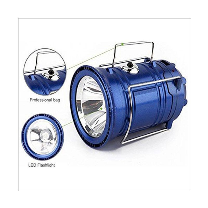 ... Lampu Emergency Lentera Camping Solar Charger Power Bank - Biru - 3