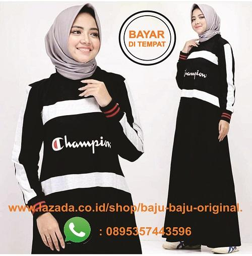 Baju Original Gamis Champion Maxy Dress Combad Baju Wanita Gamis Baju  Terusan Panjang Baju Kerja Gaun 82a656492f