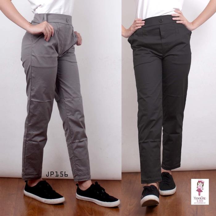 Big Size Plain Basic Pants Celana Kerja Katun Anti Begah Jumbo JP156XL