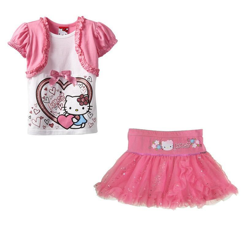 Hello Kitty Rok Gaun Baru Tahun Kostum Balita Gadis Musim Panas Gadis Pakaian 5 Tahun Ulang Tahun