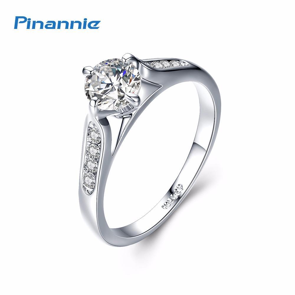Spesifikasi Pinannie 1 Karat Jelas Kubik Zirconia Putih Berlapis Emas Berlian Cincin Wanita Pertunangan For Perempuan Online
