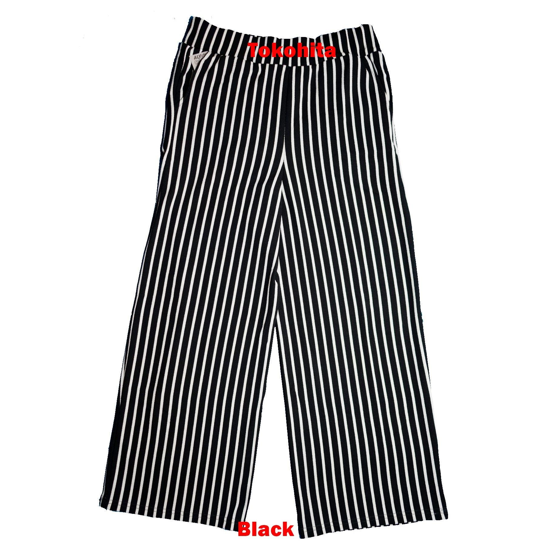 Celana Kulot Salur/ Stripe Dewasa Panjang Bahan Crepe Premium - 2 .