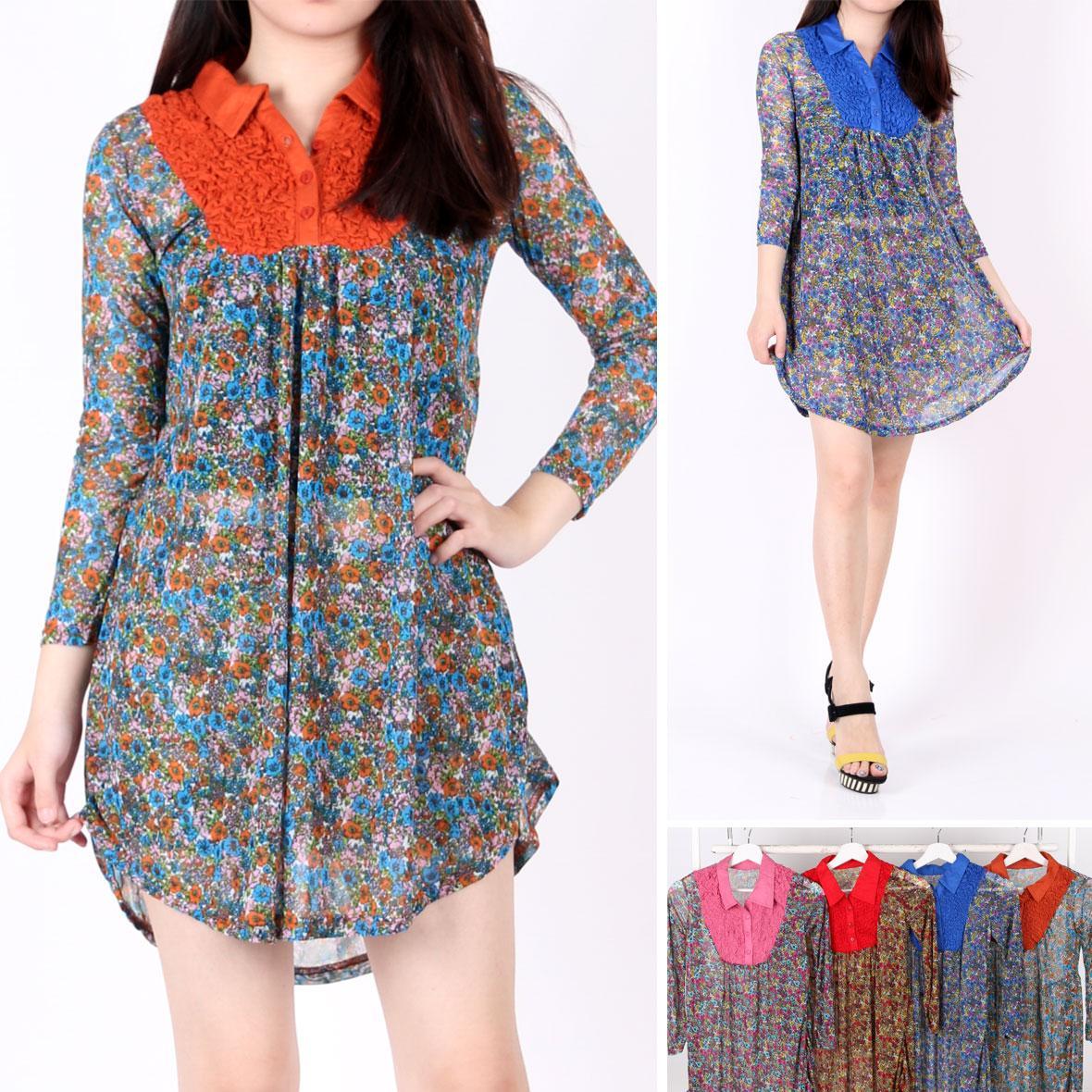 Oma Holley Fashion Birgitta Mini Dress 3/4 Lengan 4 Warna - Size M