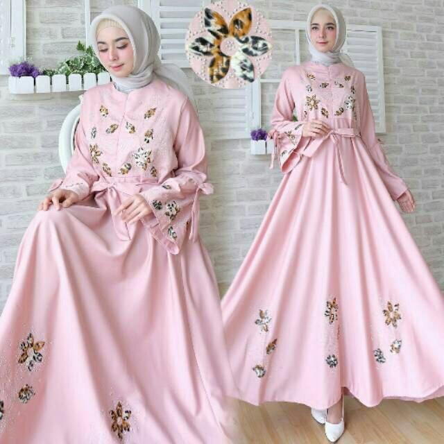 HagiosHolic Dress Aulia Maxi Wanita / Dress Muslimah / Hijab Muslim / Gamis Syari / Baju
