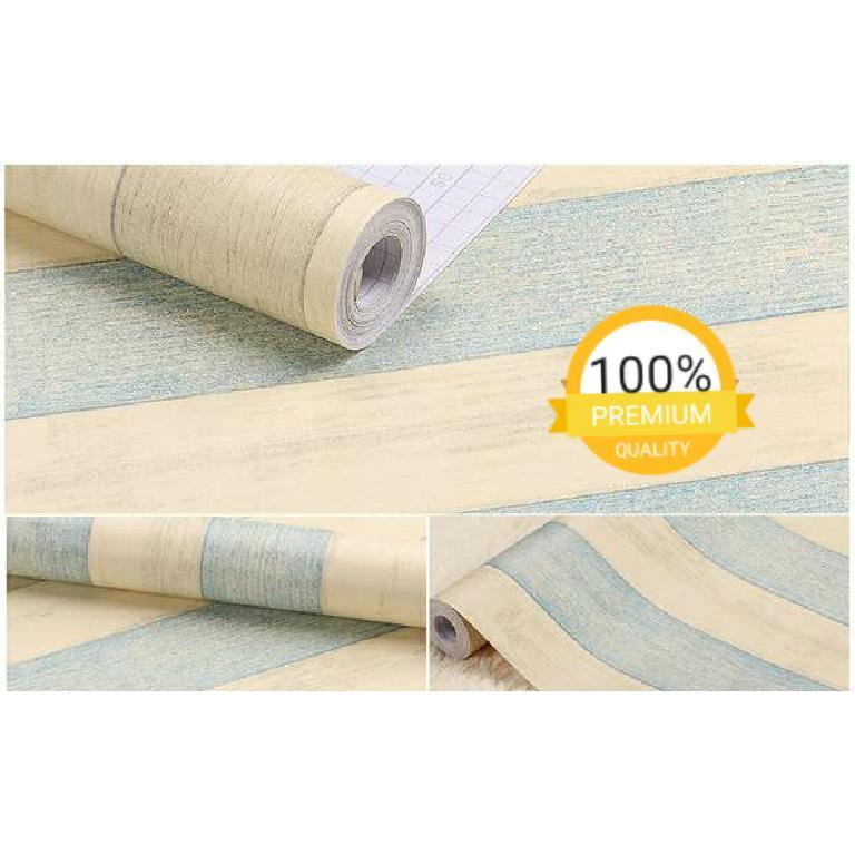 Gambar Produk Rinci Grosir murah wallpaper sticker dinding kamar ruang indah kayu vintage cream garis biru Terkini