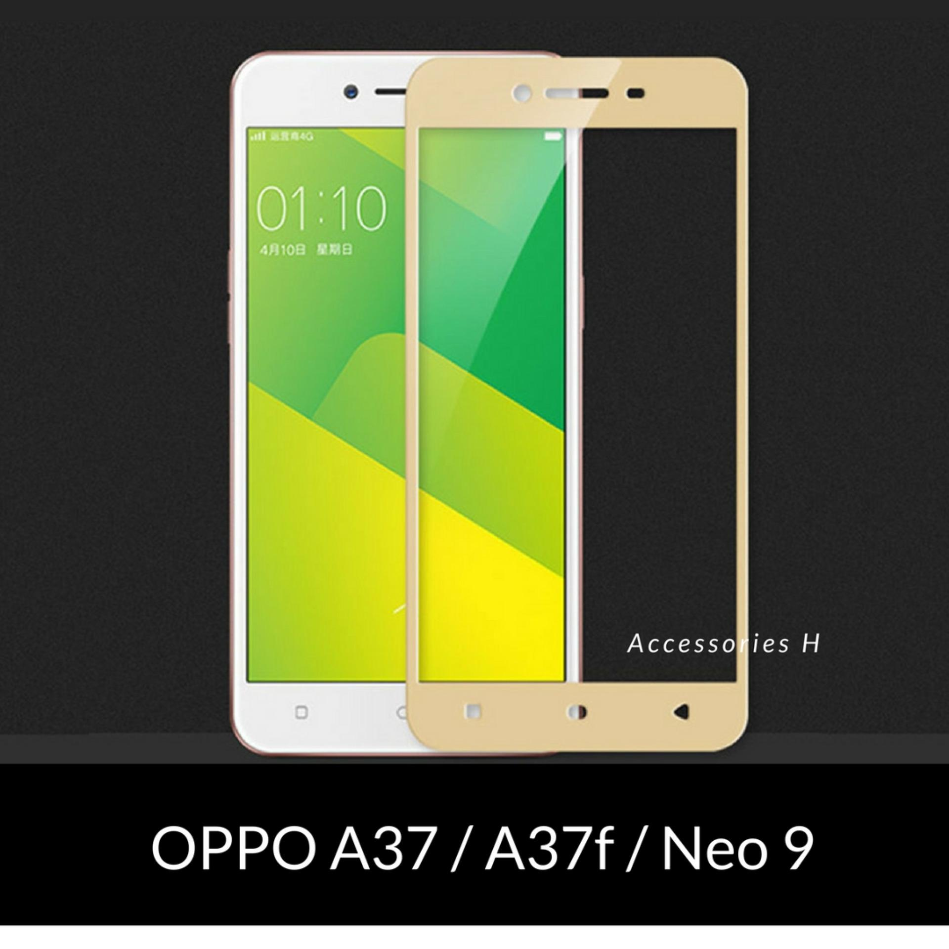 Accessories Hp Full Cover Tempered Glass Warna Screen Protector for Oppo A37 / A37f / Neo 9 - Gold