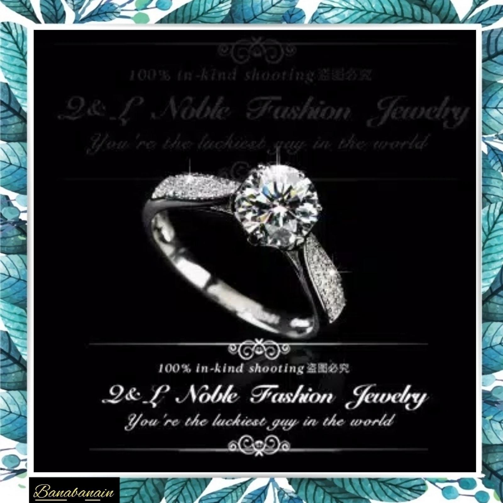 Cincin Berlian Silver Kristal Putih Periasan Imitasi