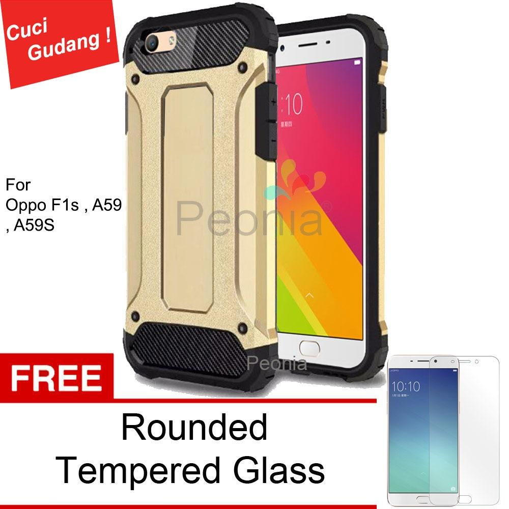 Peonia Kingkong Defender Slim Armor HardCase for Oppo F1s / A59 / A59S 5.5 Inch - Gold + Rounded Tempered Glass