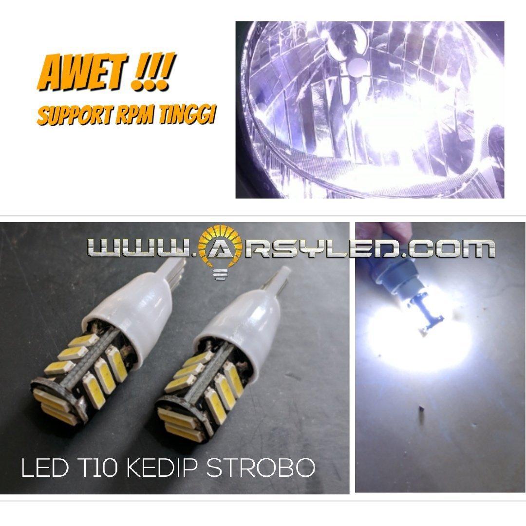 2 Biji Lampu LED T10 Kedip Strobo Flash 7020 Awet Senja Sein Sen .