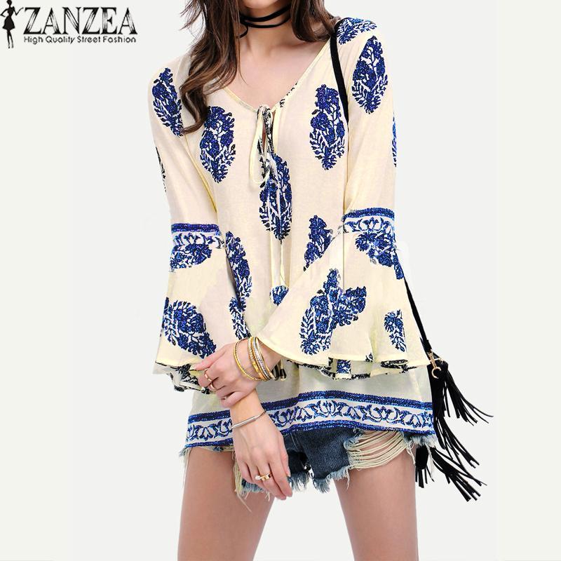 Zanzea Wanita Renda-up Kaus Kerah V Besar BoHo Floral Cetak Flare Sleeve Casual Blus