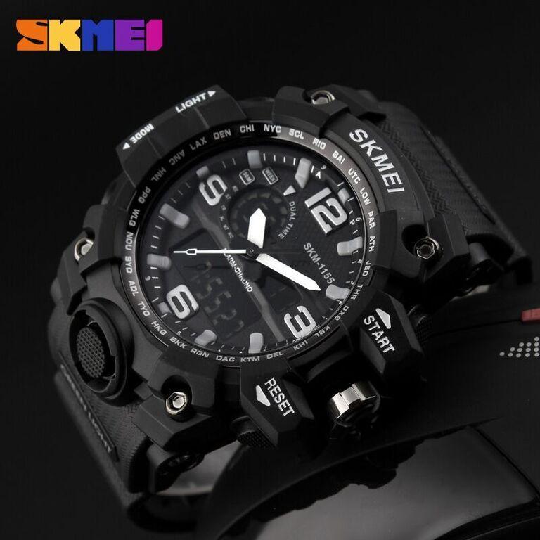 SKMEI Jam Tangan Original Sport Water Resist 50m Analog Digital Pria AD1155 - Black White