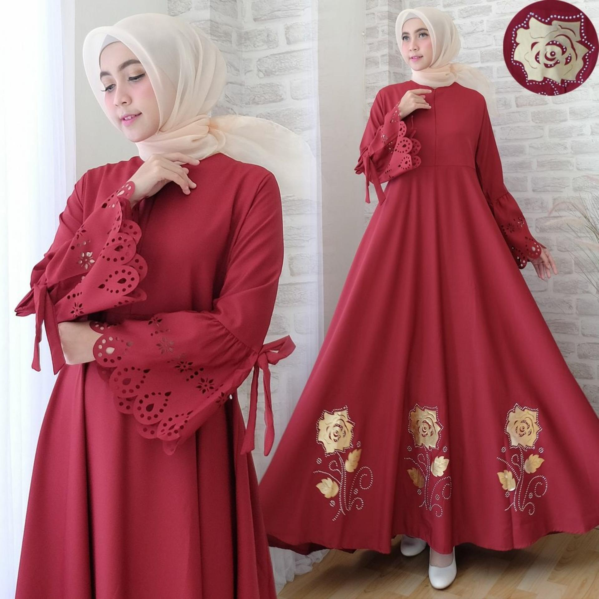 Toko Snowshop Gamis Syari Kayla Maroon Baju Muslim Fashion Wanita Baju Wanita Baju Gamis Busui Gaun Baloteli Xl Jumbo Syari Online Terpercaya
