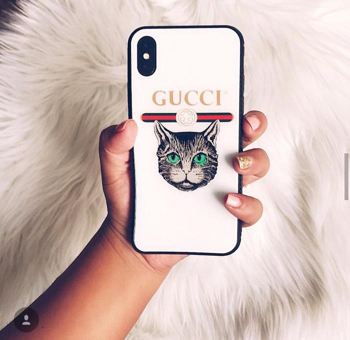 Features Guccii Cat Glass Case Iphone 6 6 7 7 8 8 Iphone X Oppo F1s