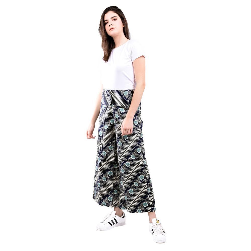 LEMONE Cullote Pants/ Celana Kulot Wanita/ Batik - Navy - 3 .
