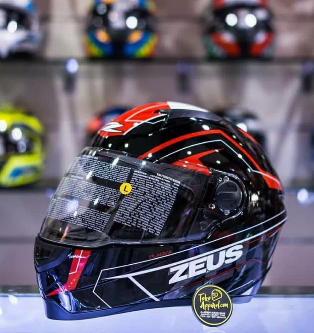 Helm Zeus Black Red Full Face