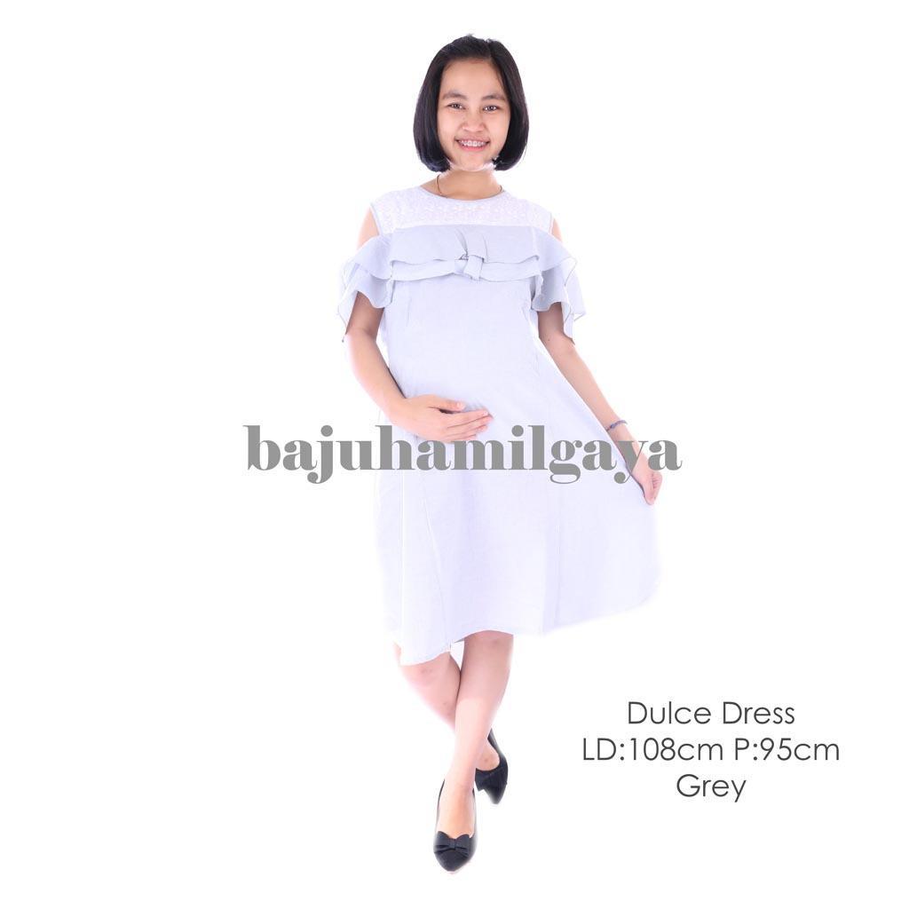 Baju Hamil Gaya - DULCE DRESS GREY - Dress Hamil Baju Menyusui Murah