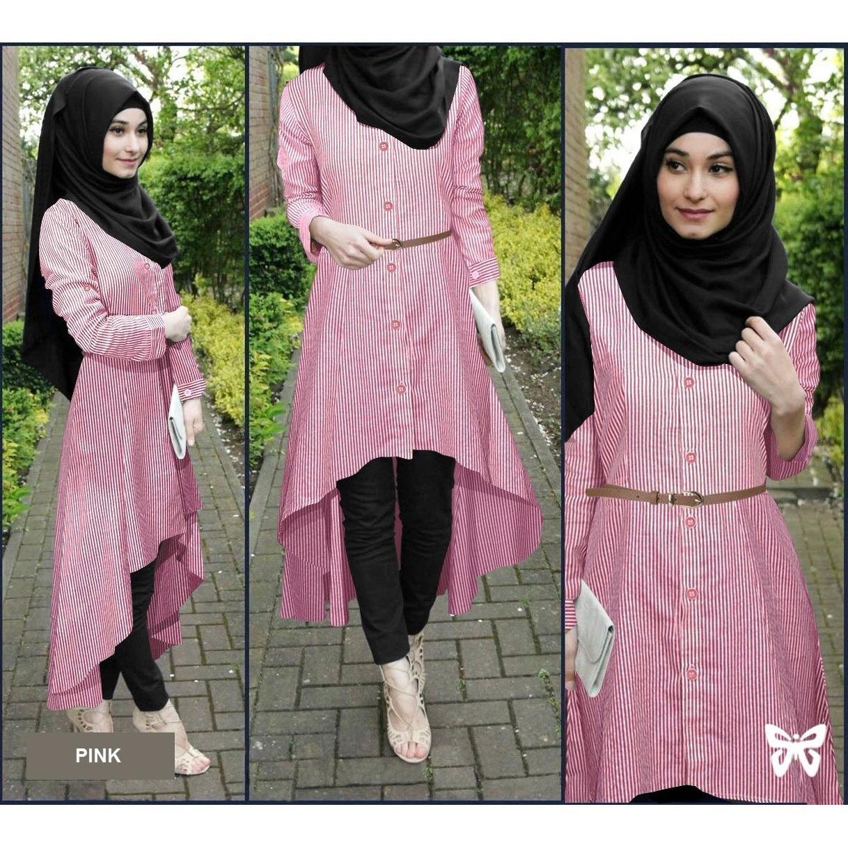 Toko Flavia Store Baju Muslim Wanita Set 4 In 1 Salur Fs0693 Pink Setelan Muslimah Stelan Gamis Hijab Atasan Blouse Terusan Kemeja Tunik Lengan Panjang Garis Bawahan Celana Srsafirasalur Terlengkap