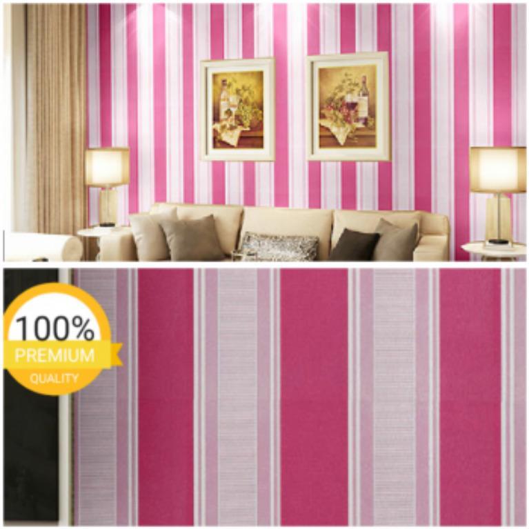 WALLPAPER Stiker Dinding Motif Dan Karakter salur pink Size 45cm X 10M ETI_SHOP