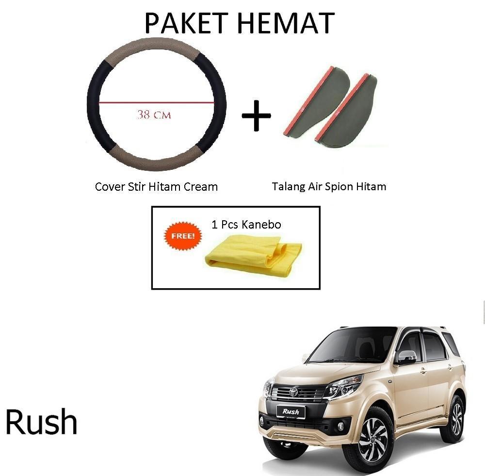 Sarung / Cover Stir / Setir / Steer Mobil Rush Warna Hitam Cream + Talang Air Spion Hitam