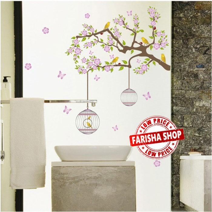 Wall sticker Branch Flower Bird DF5066 (90x60) Stiker Dinding