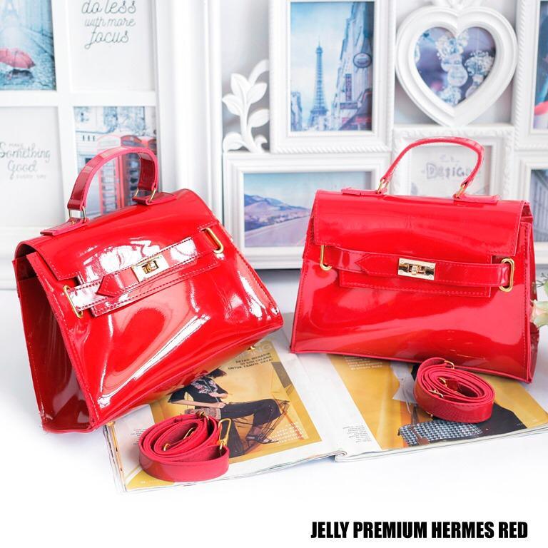Tas Wanita Sling Bag Jelly Premium Hermes - Red