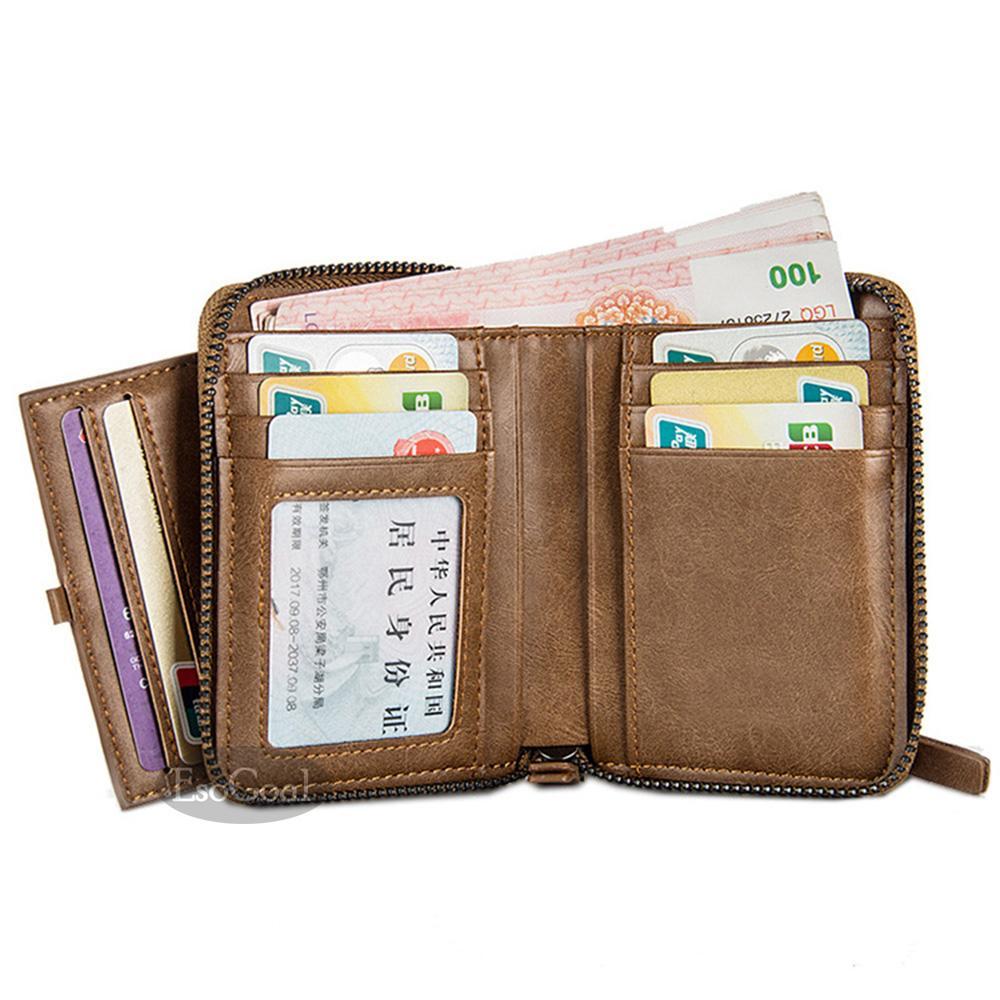 ... EsoGoal Mens Zipper Wallets Retro PU Leather Money Credit Cards ID Window Large Card Wallet Bifold ...
