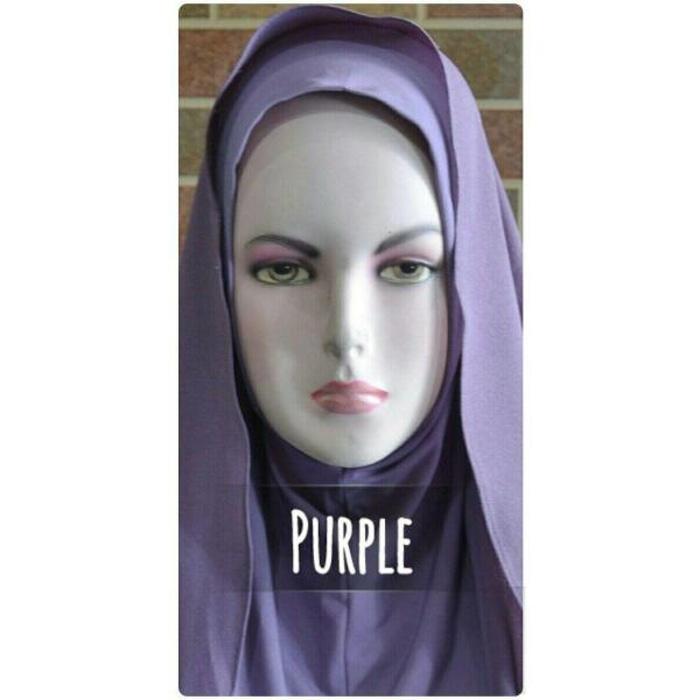Jilbab Semi Instan Warna Ungu Bahan Ceruti Diamond Italiano