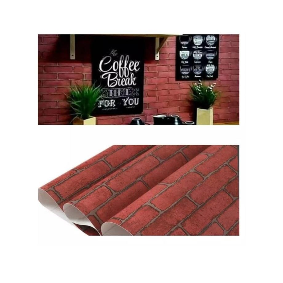 Stiker Wallpaper Dinding - Elegant Wallpaper Sticker (Size 45cm X 10M) - Bata Maroon