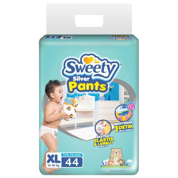 Review Sweety Silver Pants Popok Bayi Dan Anak Unisex Diapers Tipe Celana Size Xl 44 Pcs 3 Pack 132 Pcs