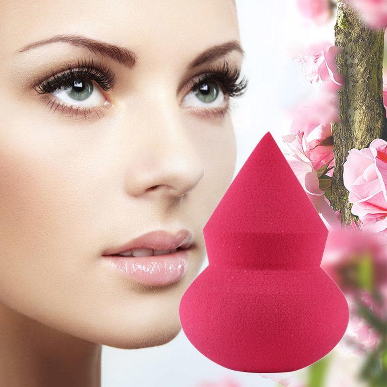 WOND 1 PC Satu Samping Labu Berbentuk Makeup Sponge Blender Puff Flawless Powder Rose Red