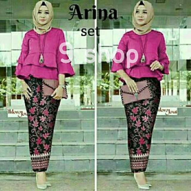 9 Shop Set 2in1 Kebaya Modern dan Rok Batik Wanita ARINA ( Tanpa Jilbab ) Kebaya