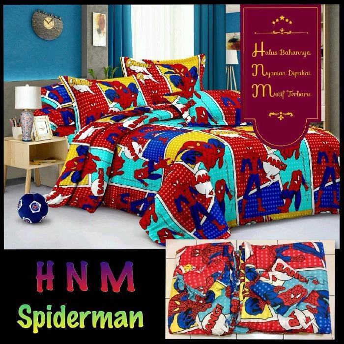 Bed cover set + Sprei motif Ukuran King size 180X200 Merah Karakter .