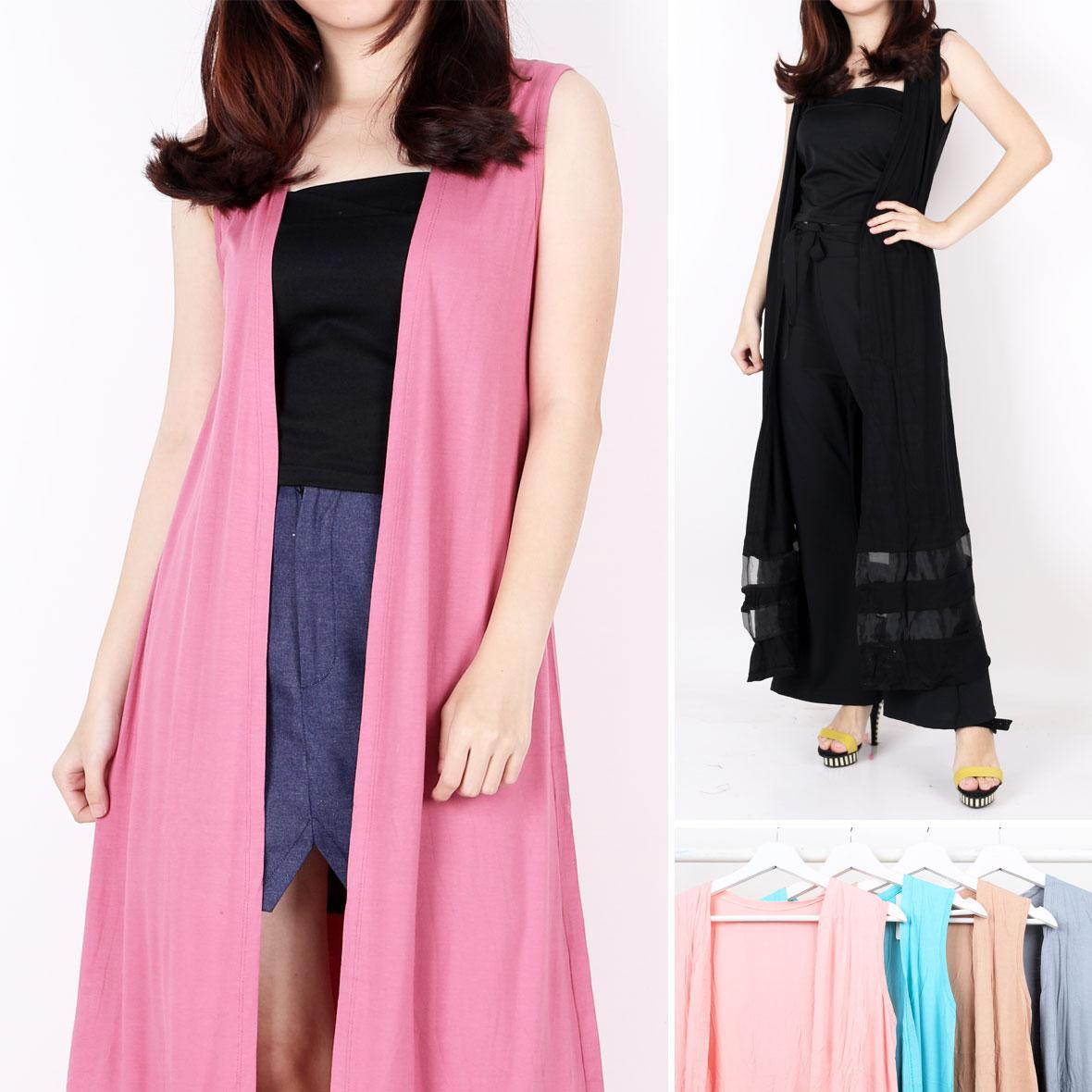 Oma Holley Fashion Casilda Long Cardigan Sleeveless 4 Warna-Size L