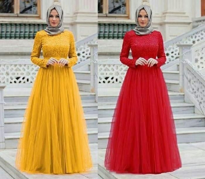 Dress Panjang / Longdress Sweet Brokat Tile Princess Hijab Hotd Style.