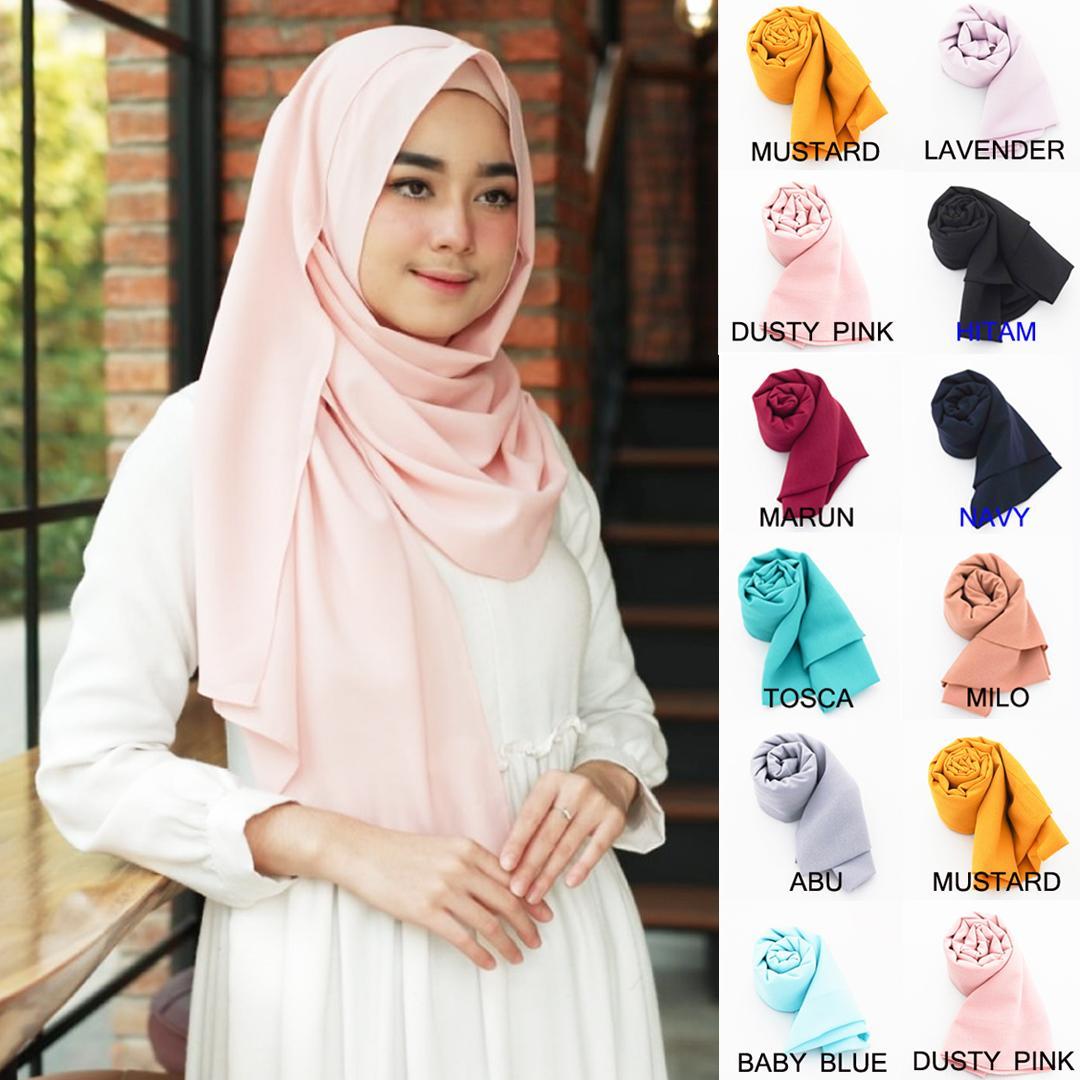 PROMO Loveme Pashmina Instan Hijab Instan Pastan Jilbab Instan Kerudung Khimar Pashmina Polos 1 Lubang