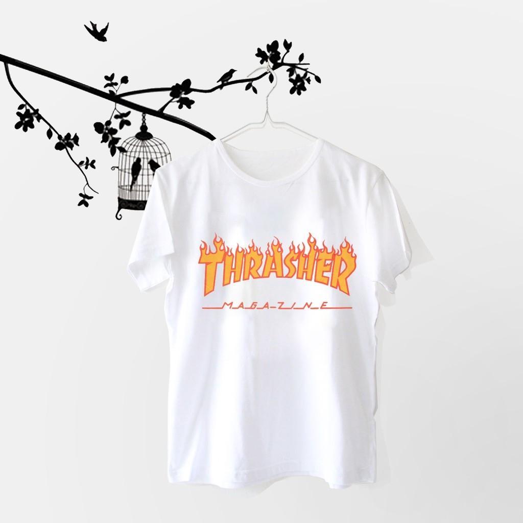 Hazelfashion T-shirt Tumblr Tee Thrasher - PUTIH