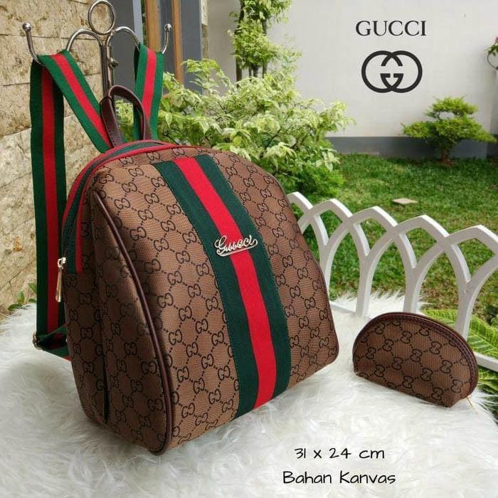 Tas Wanita Ransel Gucci Keren Lagi Hits Hotlist Kanvas Backpack Coklat