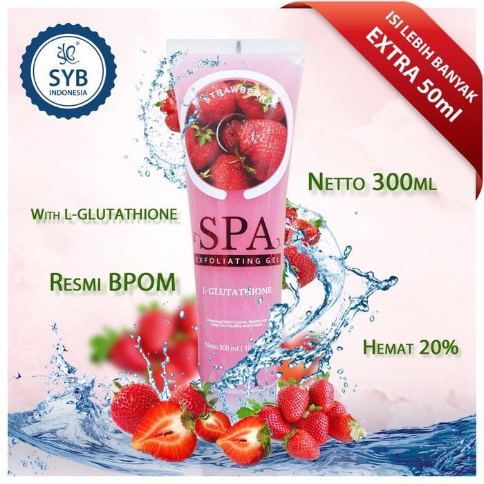 SYB Body Spa Strawberry Spa Gel By Syb BPOM Exfoliating With Glutathion Bodyspa - 300 ml