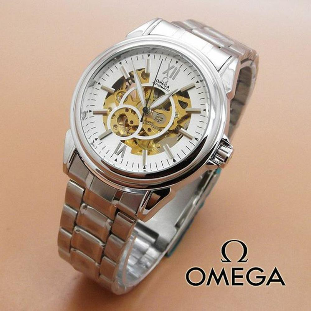 Jam Tangan Automatic Omega Skeleton OS0738 Rantai Silver - 2 Pilihan Warna (Hargajam Harga Jam Matic Otomatis)