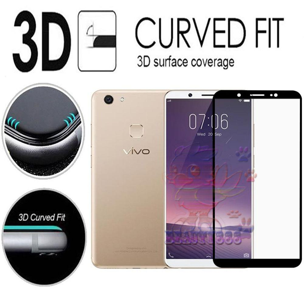 Tempered Glass Vivo V7 9H Full Screen Black Screen Anti Gores Kaca / Screen Guard / Screen Protection / Temper Glass Full Layar Vivo V7 / Pelindung Layar Kaca Vivo V7 / Full Cover Depan - Black / Hitam