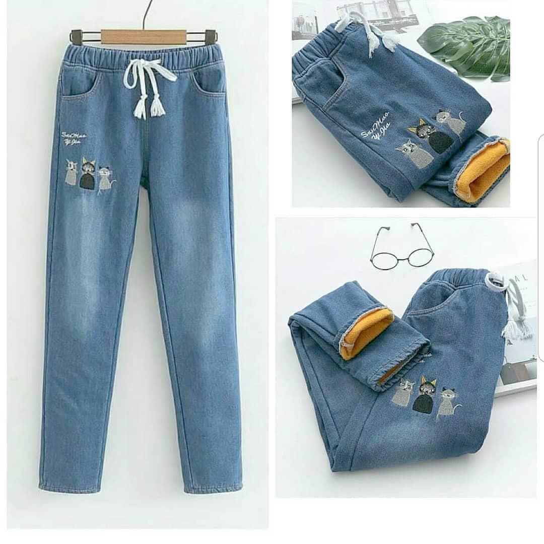 OEM Baju Original Two Cat Pants Jeans Celana Panjang Cewek Kulot Wanita Muslim Joger Muslimah Murah Simple Trend 2018