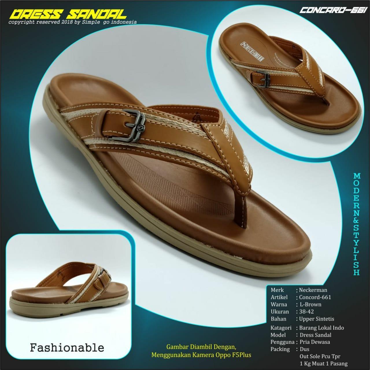 Neckerman sandal casual pria concord 661 brown 38-43