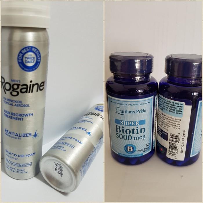 Rogaine Foam Minoxidil 5% + Puritan Biotin 5000 mcg 60 softgel
