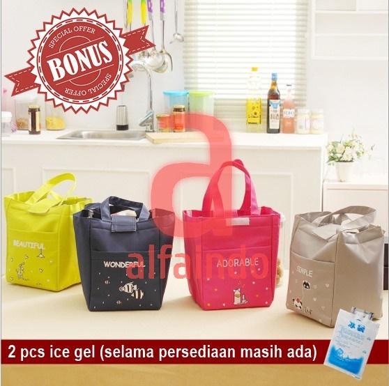 ... TM012 - Word Lunch bag /Cooler bag /Tas Bekal Motif Tulisan Velcro - 4