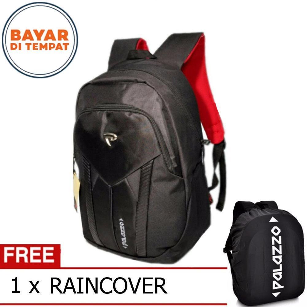 Beli Palazzo Tas Ransel Backpack Original 35545 M Black Raincover Pake Kartu Kredit